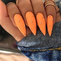 Orange Nails – 59 Pretty Orange Nail Art Designs Many women prefer to visit the hairdresser even though they cannot … Nail Art Designs, Orange Nail Designs, Orange Nail Art, Nails Yellow, Neon Orange Nails, How To Do Nails, Fun Nails, Pretty Nails, Crazy Nails