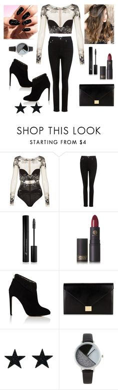 """BodySuit Outfit !!"" by andrea27lobo ❤ liked on Polyvore featuring La Perla, AGOLDE, Forever 21, Lipstick Queen, Chloe Gosselin, Victoria Beckham and BKE"