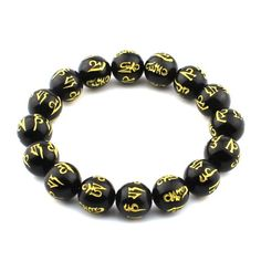O-stone Black Agate Bracelet Carved Om Mani Padme Hung 12mm Meditation Mala Grounding Stone Protection *** Find out more about the great product at the image link.