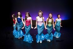 I love the different solid leotards with matching mermaid skirts for the mersisters.