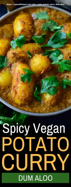 This spicy vegan potato curry is made out of fried potatoes simmered in a spicy and savory tomato-cashew sauce infused with delicious, aromatic spices!