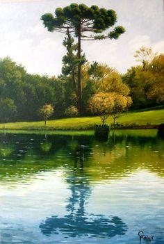 """Claudio Furlan - """"Araucária"""" - Campos do Jordão - SP. / pintura ao ar livre - """"plein air painting""""."""