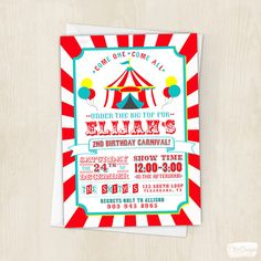 Circus Birthday Invitation - Circus Party - Boy - Under the Big Top - Circus - Birthday - Invite - Colorful - Carnival - Digital/Printable by ChiccDesigns on Etsy