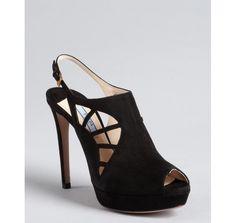 Prada black suede cutout peep toe slingbacks