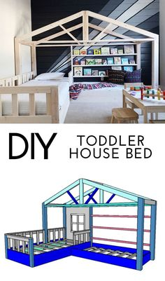 Build a DIY toddler house bed with off the shelf lumber! This bed fits a twin mattress and features a daybed reading nook on the side.#kidsrooms #kidroom #toddlerroom #toddlerbed #twinbed #housebed #cabinbed