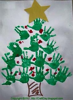 Handprint Christmas Tree by cheri Kids Crafts, Holiday Crafts For Kids, Preschool Crafts, Diy For Kids, Arts And Crafts, Handprint Christmas Tree, Christmas Tree Crafts, Kids Christmas, Christmas Decorations