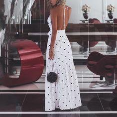 White Polka Dot Sashes Ruffle Halter Neck Backless Deep V-neck Elegant Maxi Dress Elegant Maxi Dress, White Maxi Dresses, Floral Maxi Dress, Boho Dress, Casual Dresses, Fashion Dresses, Emo Fashion, Curvy Fashion, Ruffle Dress