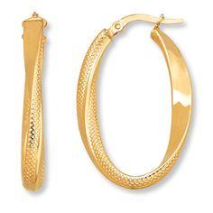 Oval Hoop Earrings 14K Yellow Gold