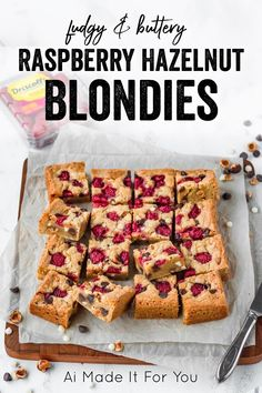 These raspberry hazelnut chocolate chip blondies are super fudgy and buttery! They're full of fresh raspberries, hazelnuts, semisweet and white chocolate chips! The perfect Valentine's Day dessert! #valentinesdaydessert #blondies Chocolate Chip Blondies, Chocolate Banana Bread, Chocolate Hazelnut, Chocolate Desserts, Chocolate Chips, White Chocolate, Easy Homemade Cookie Recipes, Homemade Brownies, Basic Butter Cookies Recipe