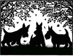 Beautiful Scottish terriers paper cutting / Scherenschnitte.  Scotty dogs silhouette.