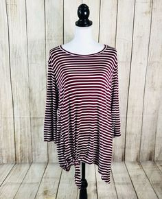 b91aacc7bbb Loanna Tunic Top Blouse Shirt Womans Plus 2X Maroon White Striped Pullover  New