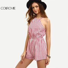 Cheap jumpsuit onesie, Buy Quality romper directly from China jumpsuits rompers women Suppliers: COLROVIE Sleeveless Summer Style Beach Rompers Women Jumpsuit Ladies Sexy Vertical Stripe Backless Cutaway Rompers Rompers Women, Jumpsuits For Women, Summer Romper, Summer Jumpsuit, Short Jumpsuit, Striped Jumpsuit, Pink Jumpsuit, Cotton Jumpsuit, Beachwear