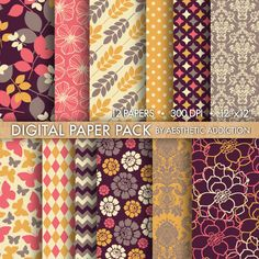 Purple Orange Pink Beige Damask Floral Geometric Digital Paper for Personal or Commercial Use - 12 Sheets - 300 DPI - 12352 by aestheticaddiction on Etsy https://www.etsy.com/listing/99878781/purple-orange-pink-beige-damask-floral