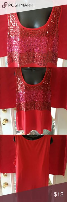 Sequins Nice sleeveless top with front 1/2 red sequins.  100% polyester. Nwot. Great for Valentines? willow bay Tops Tank Tops