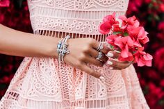 VivaLuxury - Fashion Blog by Annabelle Fleur: A STEP INTO SPRING - PANDORA The Spring Collection jewelry | ALEXIS Sage crochet fit-and-flare dress | REBECCA MINKOFF Georgina studded sandals | STRATHBERRY OF SCOTLAND Mc Nano powder blue bag March 28, 2016