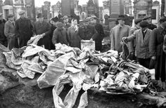 Lodz, Poland, Repository of torn sacred books and religious artifacts in the cemetery. Baruch Preshker (a high ranking official at the ghetto administration and a prominent member of the Zionist committee) established a religious artifacts repair workshop, where jobs were given to people who were previously respected Hassidim. Religious artifacts were brought to this workshop from nearby Jewish communities that ceased to exist .