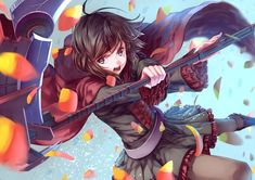 1girl black_hair black_legwear boots brown_eyes cape open_mouth pantyhose petals ruby_rose rwby scythe short_hair skirt solo touboku weapon