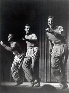 L to R: Bob Scheerer, Cliff Ferre, Bob Fosse in the Broadway show, DANCE ME A SONG, 1950. Unknown photographer. Bob Scheerer archive.