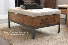 Wood Crate Ottoman Rope Ottoman Medium Size Of Crate Store Wood Crate Ottoman Rope Ottoman Target Pallet Ottoman Rope Ottoman Pattern Wooden Milk Crate Ottoman Crate Furniture, Reclaimed Furniture, Custom Made Furniture, Furniture Making, Furniture Storage, Crate Ottoman, Crate Bench, Tufted Ottoman, Crate Shelves
