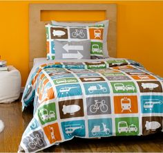 If your kid loves vehicles as much as my daughter, check out this modern transportation bedding from Dwell Studio.  I always love orange and blue combos!  Twin or full.