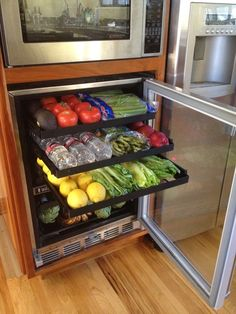 As vegans, we have wine fridge stocked with tons of fruits & veggies so that our. - As vegans, we have wine fridge stocked with tons of fruits & veggies so that our big fridge has roo - Kitchen Organization Pantry, Kitchen Cabinet Organization, Kitchen Pantry, Kitchen Storage, Kitchen Dining, Kitchen Decor, Pantry Ideas, Kitchen Cabinets, Organization Ideas