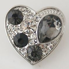 1 PC 18MM Gray Heart Rhinestones Chunk Pop Charm Zinc Silver Snap Popper Fits Bracelet Interchangeable KB6371 CC0590 Diameter Size: 18MM Material: Zinc Alloy and rhinestones