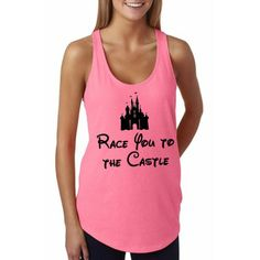 Race You To The Castle – Neon Pink - Disney Shirt, Disney Clothing, Disney Apparel Shop Him & Gem (www.himandgem.com)