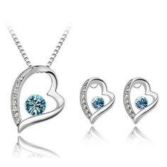 Heart-shaped Rhinestone Necklace & Stud Earrings Set Sea Blue