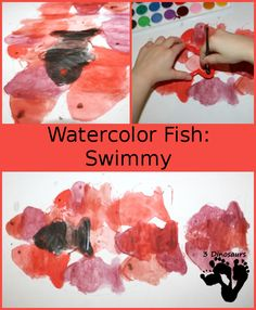 Watercolor Fish – Swimmy - using cookie cutters to make a watercolor painting - 3Dinosaurs.com