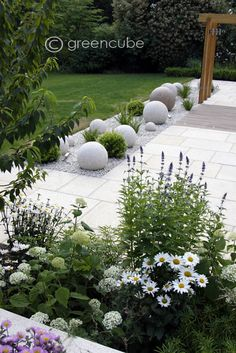 modern garden decor Greencube garden and landscape design, UK: Sculpture in the garden, greencube designs a sculptural ball garden Garden Design, Plants, Landscape Projects, Landscape Design, White Gardens, Backyard Garden, Modern Garden, Rock Garden Landscaping, Modern Garden Design