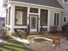 Porch love, what I like most is how simple the screen framing is. Also love the patio space off of the screen porch.