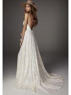 93020edd8aaa 3/4 Sleeves Lace Top Long Chiffon Beach Wedding Dresses Ivory Country Bridal  Dress –