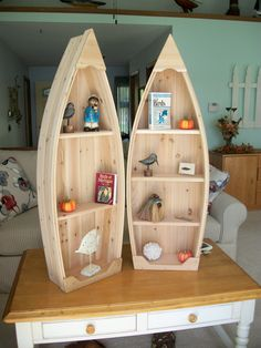 Wood Profit - Woodworking - 4 foot unfinished row boat shelf bookcase bookshelf hand crafted canoe nautical Discover How You Can Start A Woodworking Business From Home Easily in 7 Days With NO Capital Needed! Nautical Bookshelves, Boat Bookcase, Bookshelf Plans, Tall Bookshelves, Bookshelf Ideas, Wood Projects For Beginners, Diy Wood Projects, Canoe Shelf, Boot Regal