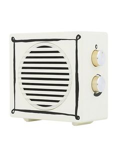 compact portable wireless speaker, cream/gold, large