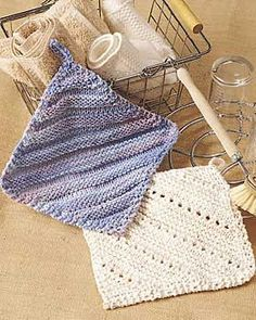 Two pretty and easy dishcloths - simple ridge and eyelet. A perfect project for your home or a great gift. Approx. finished size 7 in [18 cm] square. Lily Sugar'n Cream, size 5mm (U.S. 8) knitting needles size and 4.5mm (U.S. 7) crochet hook.