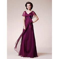 A-line V-neck Short Sleeve Floor-length Chiffon Mother of the Bride Dress – USD $ 89.69