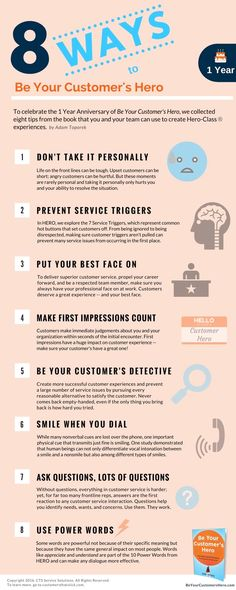 Customer Service Infographic: 8 Ways to Be Your Customer's Hero - Customer Servi. - Customer Service Infographic: 8 Ways to Be Your Customer's Hero – Customer Servi… - Self Service, Logo Service, Good Customer Service Skills, Customer Service Training, Excellent Customer Service, Customer Experience, Service Design, Service Ideas, Motivation Positive