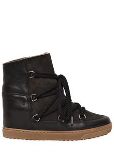 ISABEL MARANT - ETOILE 70MM NOWLES SUEDE SHEARLING BOOTS - ISABEL MARANT