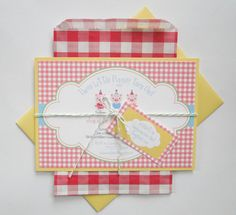 Little Piggy Birthday Picnic Invitations - Made to Order. $100.00, via Etsy.