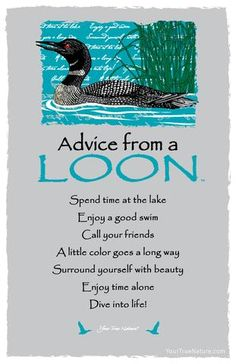 Each postcard says: Advice from a Loon Spend time at the lake Enjoy a good swim Call your friends A little color goes a long way Surround yourself with beauty E