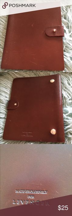 Leather Levenger Agenda Organizer Journal Book Fabulous brown leather Levenger organizer.  Sweet 👍 Levenger Bags Briefcases