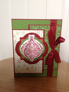 xmas ornament card Stampin Up Stampin Up Christmas, Christmas Cards To Make, Noel Christmas, Xmas Cards, Christmas Projects, Handmade Christmas, Holiday Cards, Christmas Ornaments, Cool Cards