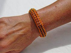 Handmade French Knit Beaded Bracelet  Orange by SpindleCityKnits
