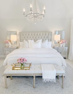 Elegant Master Bedroom Refresh with The Company Store If you are anything like me, then you believe that your master bedroom should be the most luxurious room in your home. We spend about a third of our life sleeping, so high quality bedding is absolu… Room Ideas Bedroom, Dream Bedroom, Home Decor Bedroom, Bedroom Furniture, Modern Bedroom, Romantic Bedroom Design, Bedroom Rustic, Cozy Bedroom, Decor For Master Bedroom