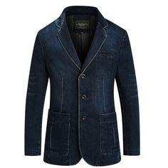Blazer With Jeans Men, Denim Suit, Denim Jacket Men, Blazer Jacket, Denim Jackets, Men's Denim, Men's Jeans, Men Shorts, Khaki Pants