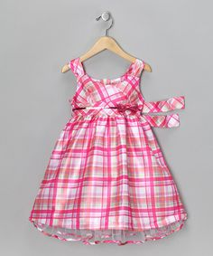 Take a look at this Pink Plaid Bow Dress - Infant, Toddler & Girls by Nannette on #zulily today!
