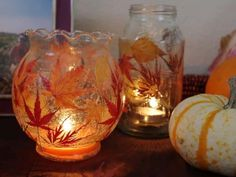 Fallen Leaf Lanterns are easy mason jar crafts for kids that look absolutely stunning. Use any kind of recycled glass container you have for these fall crafts for kids. Kids Crafts, Fall Crafts For Adults, Easy Fall Crafts, Leaf Crafts, Fall Diy, Thanksgiving Crafts, Holiday Crafts, Diy And Crafts, Autumn Fall