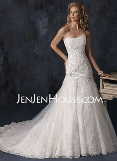 A-Line/Princess Sweetheart Chapel Train Satin  Tulle Wedding Dresses With Lace  Beadwork (002012915)