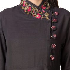 Khushal K Women Embroidered Flared Kurta Neck Designs For Suits, Sleeves Designs For Dresses, Blouse Back Neck Designs, Neckline Designs, Blouse Designs, Salwar Designs, Kurta Designs Women, Kurti Designs Party Wear, Kurti Sleeves Design