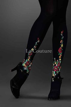 TIGHTS with embroidery by AtelierLaCouture on Etsy